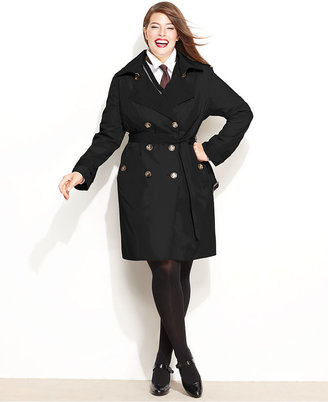 London Fog Plus Size Coat, Classic Belted Trench Coat