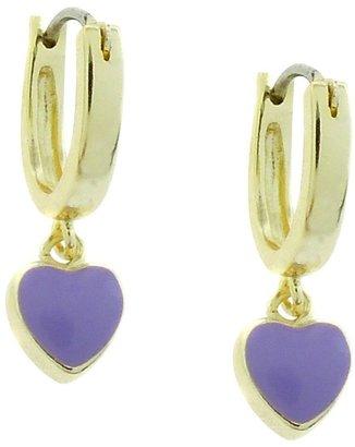 Distributed By Target ELLEN 18k Gold Overlay Enamel Heart Dangle Hoop Earrings - Lavender
