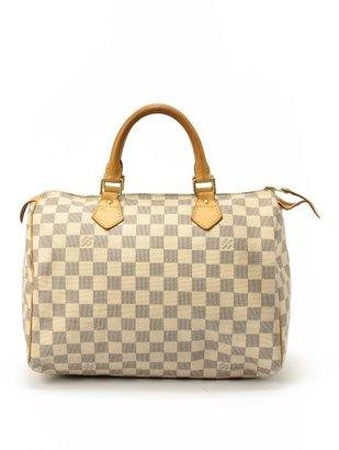 Louis Vuitton Pre-owned: white damier azur canvas 'Speedy 30' bag