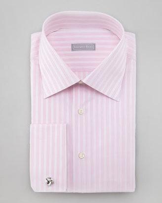Stefano Ricci Mixed Stripe French-Cuff Shirt, Pink