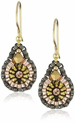 810781c09 Miguel Ases Swarovski and Gold Beaded Earrings