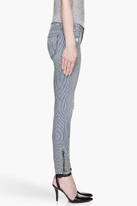 Mother Blue pinstripe Ankle Zipped The Looker jeans