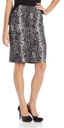 Chaus Women's Asymmetrical-Line Ponte Classic Snake Pencil Skirt