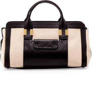 Chloé Alice Colorblock Satchel Bag, Husky White/Black