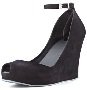 Melissa Shoes Patchouli VI Ankle-Strap Wedge, Black/Gray