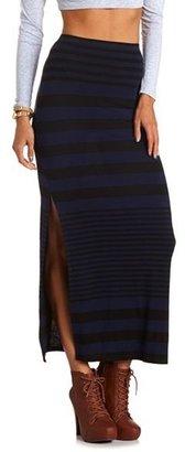 Charlotte Russe Striped Side Slit Maxi Skirt