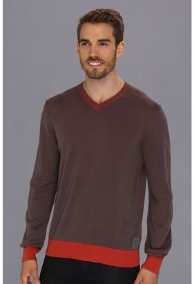 Calvin Klein Jeans 12GG Plaited Jersey V-Neck Sweater (Thunder Grey) - Apparel