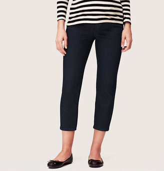 LOFT Petite Maternity Cropped Jeans in Dark Rinse Wash with Demi Panel Waist