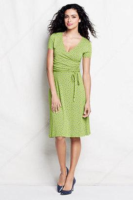 Lands' End Women's Pattern Knit Shirred Surplice Dress