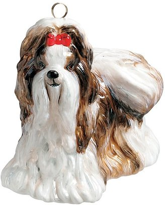 Shih Joy to the World Tzu Ornament, Brown & White