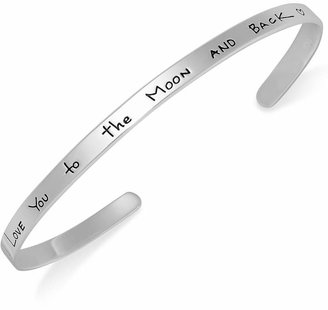 """Unwritten Inspirational Sterling Silver Bracelet, """"I Love You to the Moon and Back"""" Bangle"""