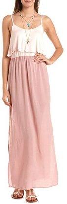 Charlotte Russe Ruffle Bust Color Block Maxi Dress
