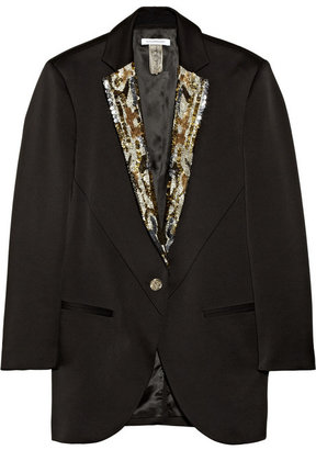 Faith Connexion + Isabeli Fontana Sequin-embellished sateen tuxedo jacket