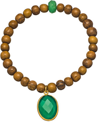 Jemma Sands Green Onyx Jade and Robles Wood Beaded Bracelet