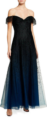 Marchesa Notte Ombre Glitter Tulle Off-The-Shoulder A-Line Gown
