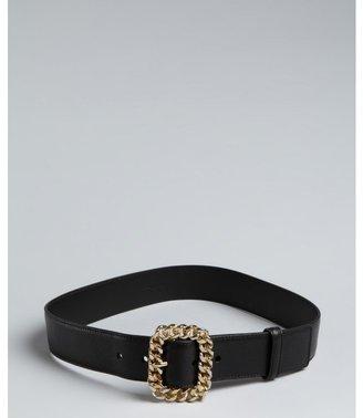 Yves Saint Laurent black leather chain buckle belt