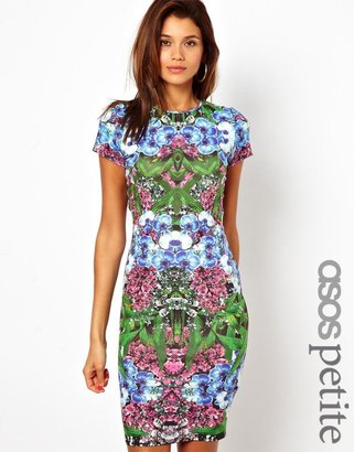 Asos Exclusive Midi Dress In Orchard Mirror Print and Cut Out Back