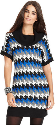NY Collection Sweater, Short-Sleeve Printed Cowl-Neck Tunic