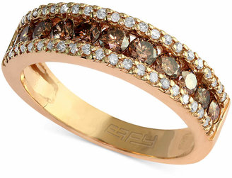 Espresso by Effy Brown and White Diamond Three-Row Ring (7/8 ct. t.w.) in 14k Gold $1,800 thestylecure.com