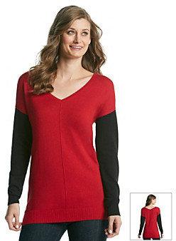 Vince Camuto V-Neck Contrast Sleeve Sweater