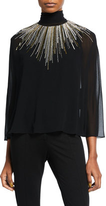 Halston Aidan Embellished High-Neck Caped Blouse