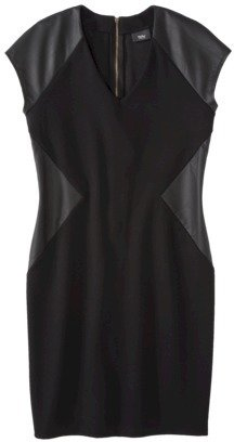 Mossimo Women's V-Neck Ponte Dress w/ Faux Leather - Black