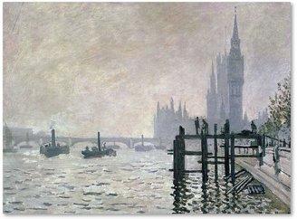 Trademark fine art 14'' x 19'' ''The Thames Below Westminster'' Canvas Wall Art by Claude Monet