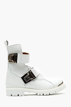 Nasty Gal When Buckled Moto Boot - White