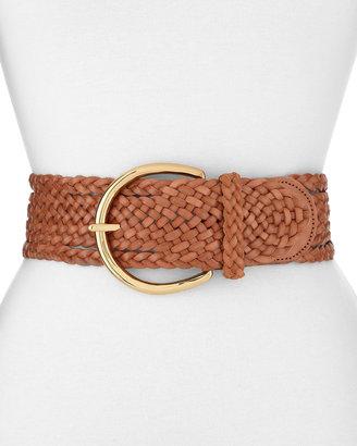 Linea Pelle Braided Classic Belt, Light Brown