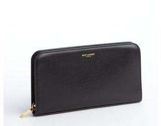 Saint Laurent black smooth leather zip continental wallet