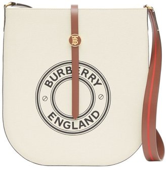Burberry Logo Graphic Cotton Canvas And Leather Anne Bag
