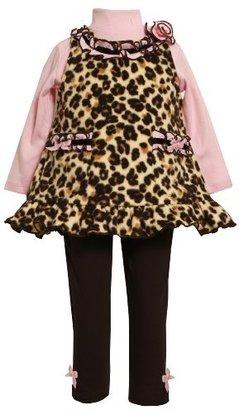 Bonnie Baby girls Infant Leopard Print Fleece Legging Set