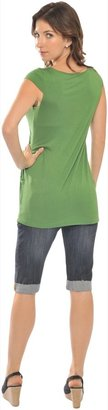 Olian Short Sleeve Lycra Top with Pockets - Green-Small