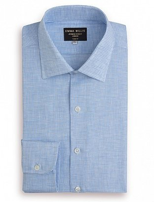 Emma Willis Sky Check Linen Slim Fit Single Cuff Shirt