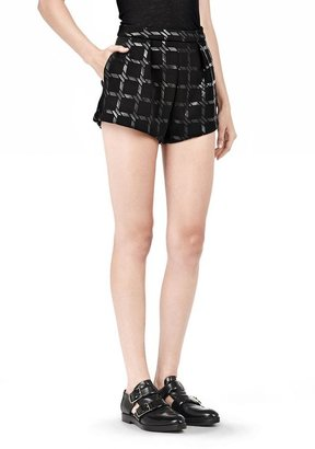 Alexander Wang Grid Print Neoprene Cropped Shorts