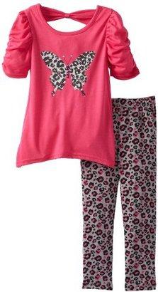 Little Lass Girls 2-6X 2 Piece Bow Back Butterfly Print Legging Set