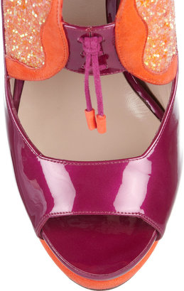Nicholas Kirkwood Glitter-finished suede and patent-leather sandals