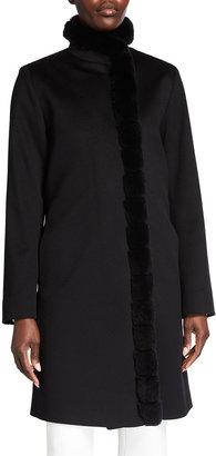Fleurette Rabbit Fur-Trim Wool Dress Coat
