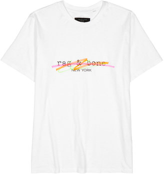 Rag & Bone White Logo Cotton T-shirt