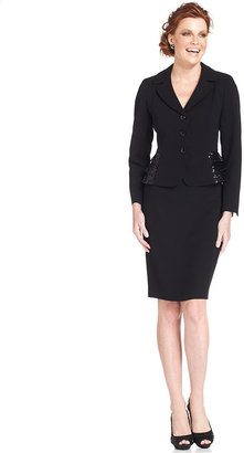 Kasper Petite Suit, Sequin Peplum Jacket & Pencil Skirt