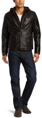 Levi's Men's Faux-Leather Racer Jacket with Hood