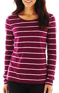Liz Claiborne Long-Sleeve Crewneck Striped Tee