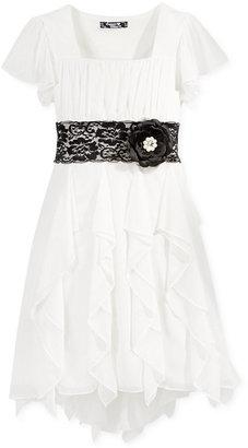 Sequin Hearts Dress, Girls Short-Sleeve Ruffled Lace