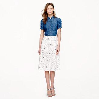 J.Crew Collection silk crepe de chine skirt in shoe sketch