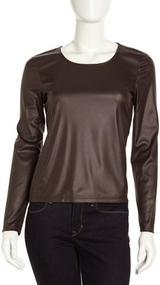 Paperwhite Long-Sleeve Faux-Leather Top