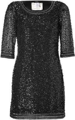 Collette Dinnigan Black Highland Fling Beaded Mini-Dress