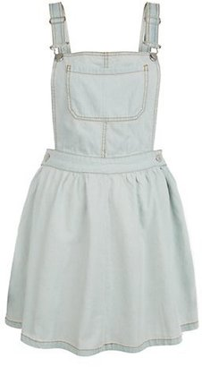 New Look Pale Blue Bleach Wash Denim Pinafore Dress