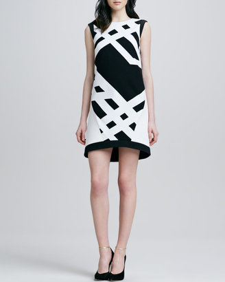 Tibi Jewel-Neck Printed Dress