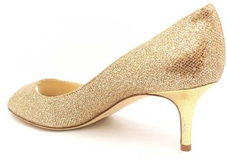 "Jimmy Choo Isabel"" Gold Glitter Fabric Peep Toe Pump"
