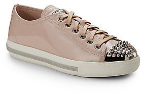 Miu Miu Studded Patent Leather Lace-Up Sneakers